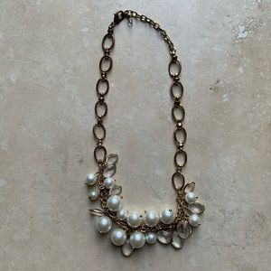 Pearl gold statement necklace